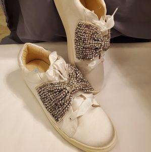 Betsy Johnson satin white tennis shoes